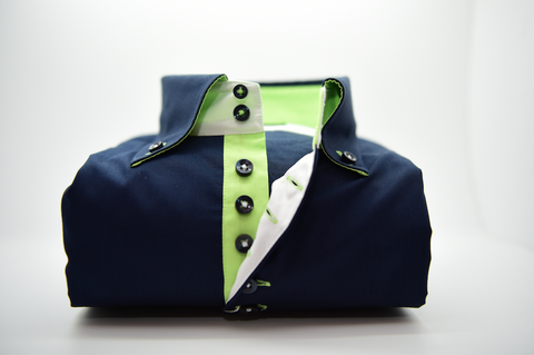 Men's Navy Blue Single Collar Shirt with Apple Green Trim