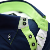 Men's navy blue shirt with apple green trim upclose