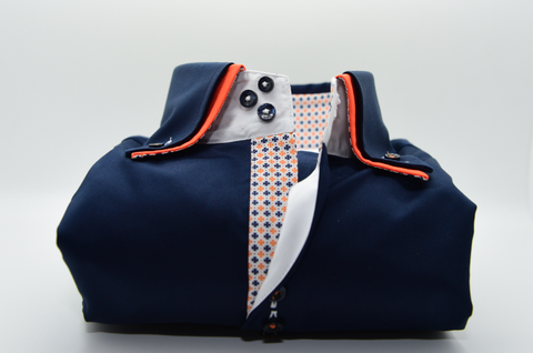 Men's Navy Blue Shirt with Orange Double Collar