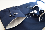 Men's navy blue shirt small white double collar cuff