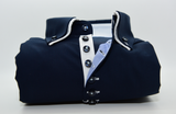 Men's navy blue shirt small white double collar front