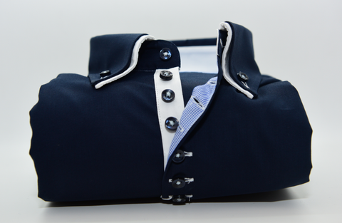 Men's Navy Blue Shirt with Small White Double Collar