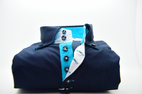 Men's Navy Blue Single Collar Shirt with Turquoise Trim