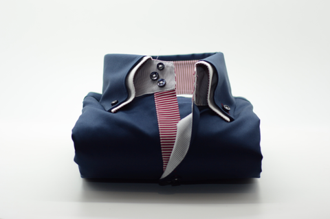 Men's Navy Blue Shirt with White Double Collar and Burgundy Trim