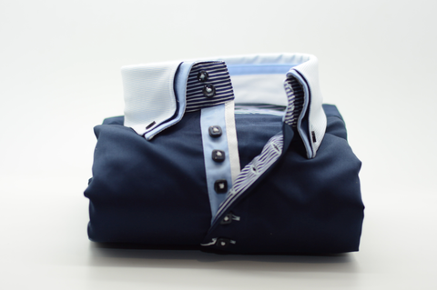 Men's Navy Blue Shirt with White and Light Blue Double Collar