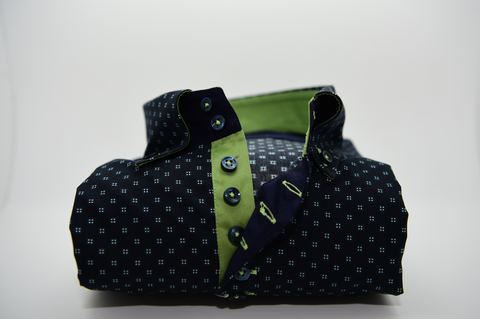 Men's Navy Blue Patterned Shirt with Olive Green Trim