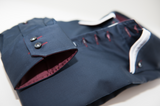 Men's navy shirt burgundy triple collar cuff