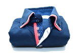 Men's navy shirt coral triple collar front