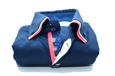 Men's Navy Blue Shirt with Coral Triple Collar