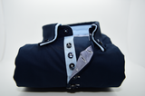 Men's navy blue shirt with light blue double collar front