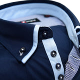 Men's navy blue shirt with light blue double collar upclose