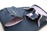 Men's navy blue shirt purple and white triple collar cuff