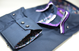 Men's navy shirt purple triple collar cuff