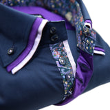 Men's navy shirt purple triple collar