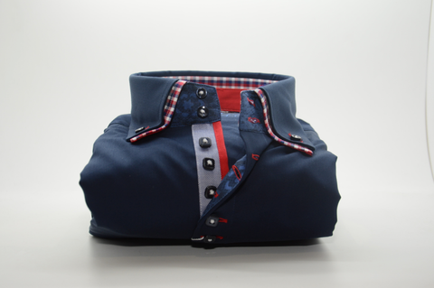 Men's Navy Blue Shirt with Red Check Double Collar