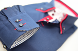 Men's navy blue shirt with red double collar cuff
