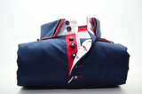Men's navy blue shirt with red double collar front