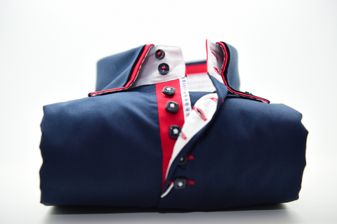 Men's Navy Blue Shirt with Red Double Collar