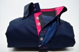 Men's navy blue shirt with pink trim front