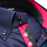 Men's navy blue shirt with pink trim upclose