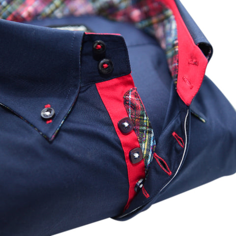 Men's Navy Blue Shirt with Red Contrast