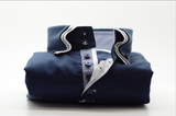 Men's navy blue shirt white triple collar front