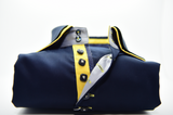 Men's navy blue shirt yellow double collar front