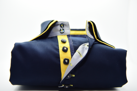 Men's Navy Blue Shirt with Yellow Double Collar