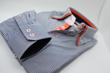 Men's dark navy striped shirt with orange double collar cuff