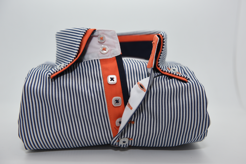 Men's Dark Navy Blue Stripe Shirt with Orange Double Collar