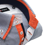 Men's dark navy striped shirt with orange double collar upclose
