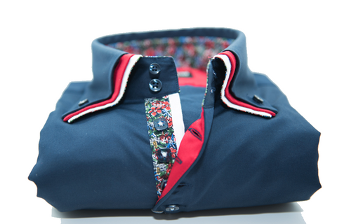 Men's Navy Blue Shirt with Red Triple Collar