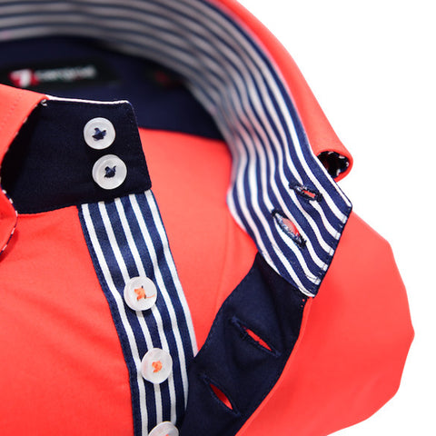 Men's Orange Single Collar Shirt with Blue and White Trim