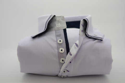 Men's Pale Lilac Shirt with Double Collar
