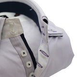 Men's pale lilac shirt stripe double collar upclose