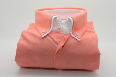 Men's Peach Shirt with White Double Collar
