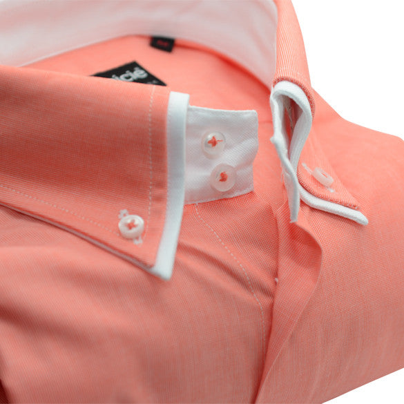 Mens peach slim fit shirt with white double collar upclose