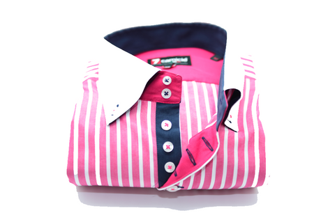 Men's Pink and White Striped Shirt with White Collar