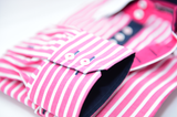 Men's pink and white stripe white collar cuff