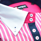 Men's pink and white stripe white collar upclose