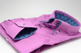 Men's pink slim fit shirt with blue paisley double collar cuff
