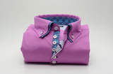 Men's pink slim fit shirt with blue paisley double collar front