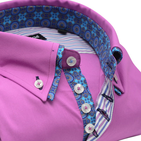 Men's Pink Shirt with Blue Paisley Double Collar