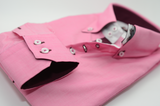 Men's pink shirt with burgundy trim cuff