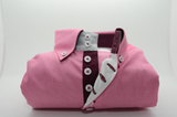 Men's pink shirt with burgundy trim front