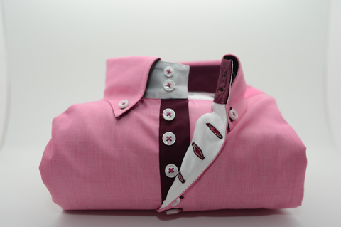 Men's Pink Single Collar Shirt with Burgundy Trim