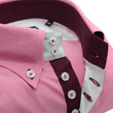 Men's pink shirt with burgundy trim upclose