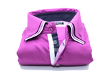 Mens pink shirt white triple collar front