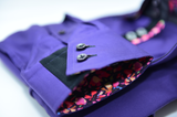 Men's purple shirt black double collar cuff