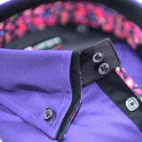 Men's purple shirt black double collar upclose